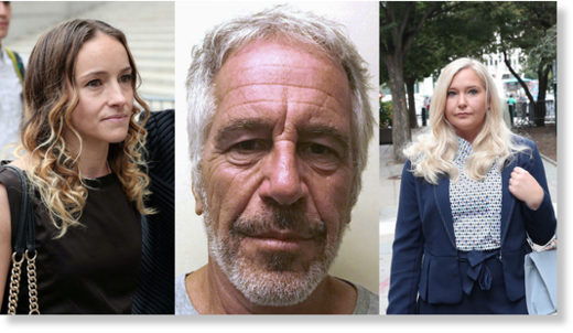 Jeffrey Epstein (C) and two of his accusers, Teala Davies (L) and Virginia Giuffre (R).