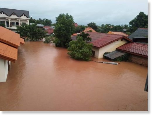 The southern region of Laos been devastated by severe floods after two consecutive tropical storms hit the region.