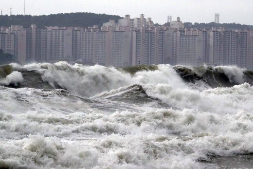High waves batter a beach in the South Korean port city of Busan