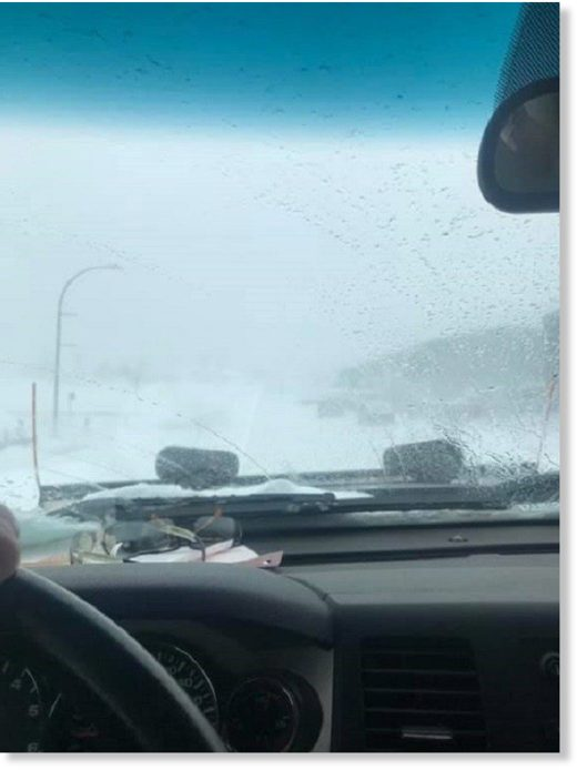 Light snow fell in Labrador after post-tropical storm Dorian swept through.