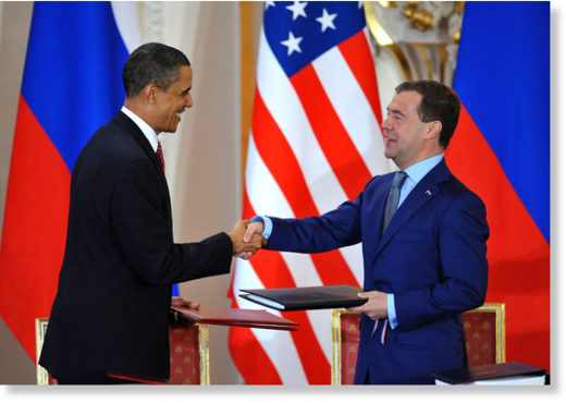 Barack Obama, and his Russian counterpart Dmitry Medvedev