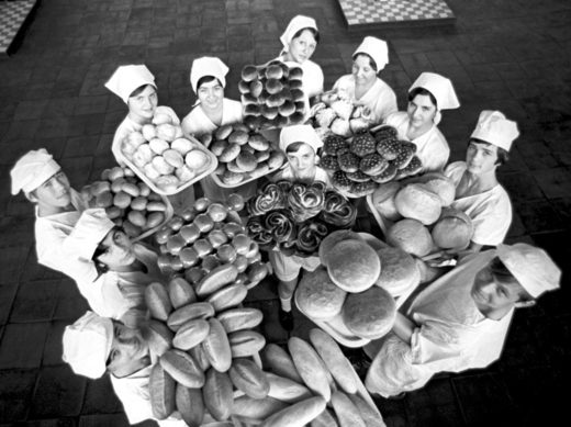 Young Soviet bakers with products of their labor in 1977