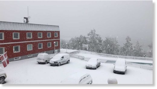 Heavy snowfall in September.