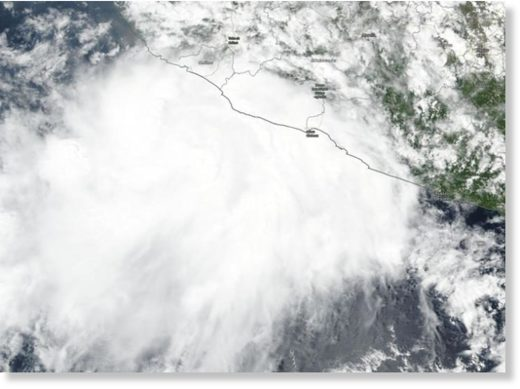 NASA-NOAA's Suomi NPP satellite passed over Tropical Storm Lorena on Sept. 18, 2019 and revealed powerful storms around the low-level center.