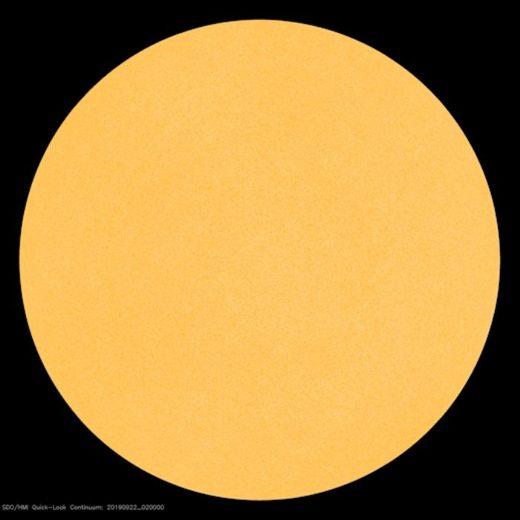 The sun on Sept. 22, 2019--as blank as a billiard ball