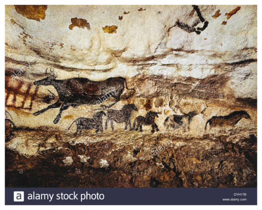 Cave painting of cow & horses, Lascaux, France