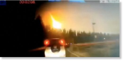 A meteor lights up the midnight sky over the northeastern China provinces of Jilin and Heilongjiang in this dashcam and surveillance camera video views taken on Oct. 11, 2019.