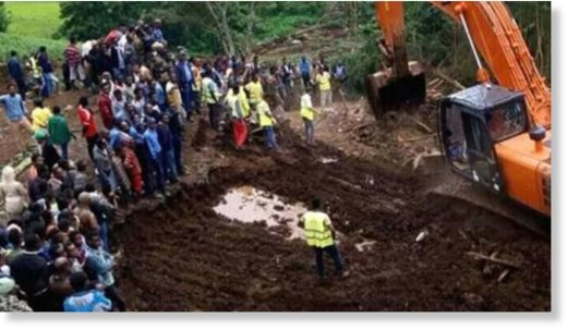 The landslide was caused by heavy rains in