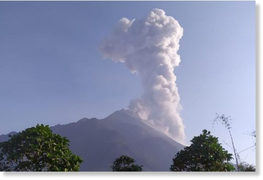 Merapi erupted for 270 seconds on Monday