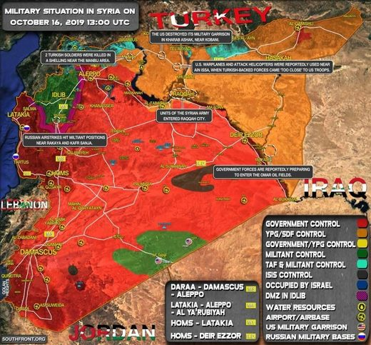 syria war map south front october 2019