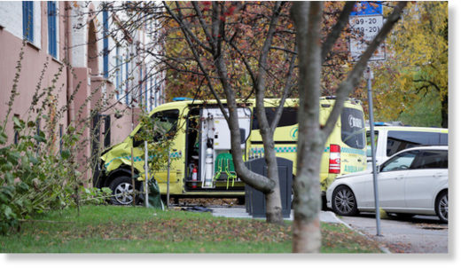 The ambulance which was robbed by an armed man.
