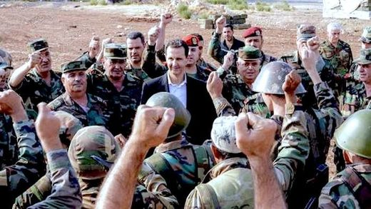 Assad and troops