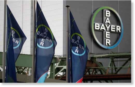 Logo and flags of Bayer AG