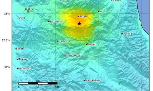 A magnitude 5.9 earthquake has hit near Hastrud in north-west Iran