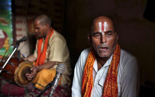 Hindu devotees sing
