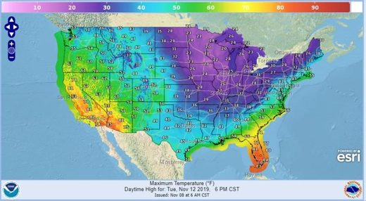 US weather cold temps forecast