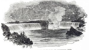 Engraving of Leonids at Niagara Falls in 1833