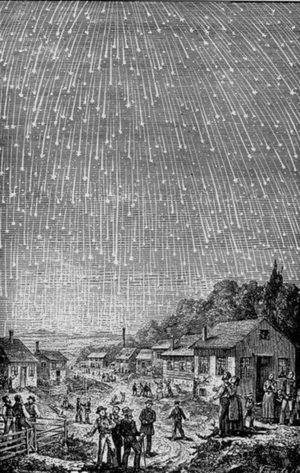 Artist's interpretation of the 1833 meteor storm