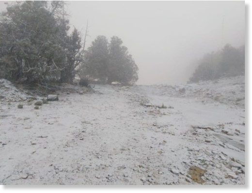Snowfall on mountain in Oman as mercury drops below 5°C