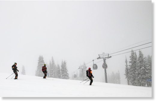 Aspen Mountain Ski Patrol sets off from the top to check conditions the day before officially opening the mountain on Friday, November 22, 2019.