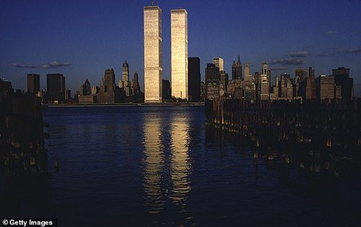 twin towers WTC sunset