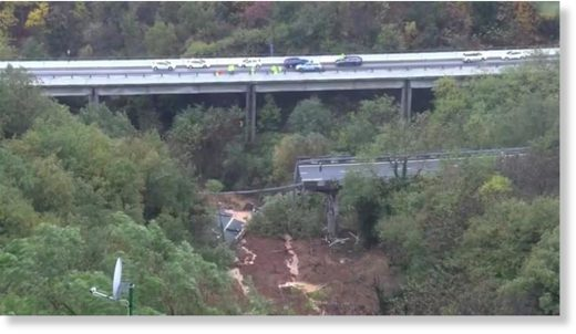 The A6 bridge near Savona Italy was swept away by a huge landslip on Sunday