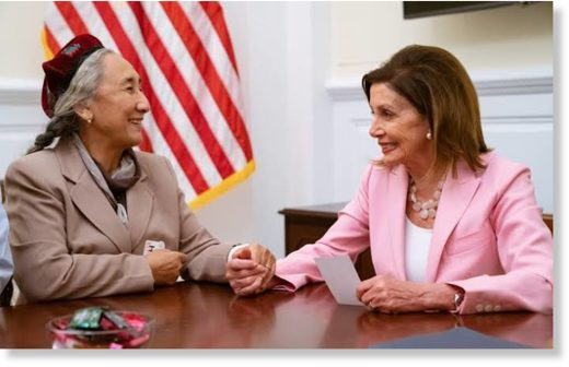 Pelosi with an Uyghur representative