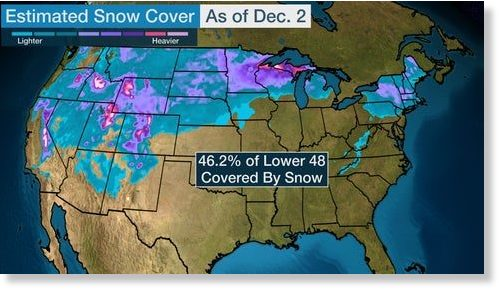 The blue, purple and pink shadings show the estimated snow cover across the Lower 48 Monday morning.
