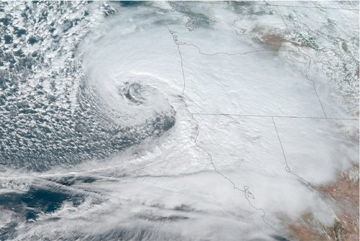 A satellite image shows the storm off the Oregon coast on Nov. 26.