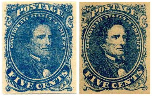 confederate post stamp 5 cent blue