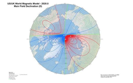Global map of declination and the dip pole locations for 2020