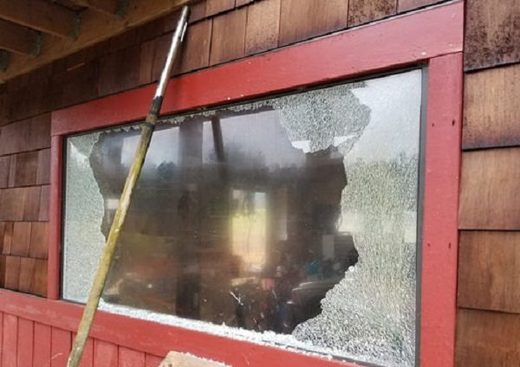 Damaged window in San Juan Island, WA
