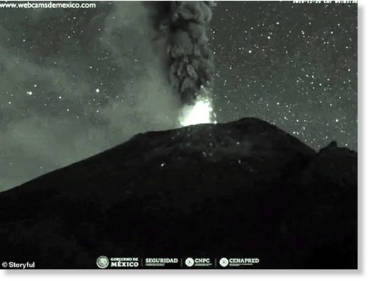 Nature's fireworks: Mexico's Popocatepetl volcano began spewing ash and glowing rock on Christmas morning