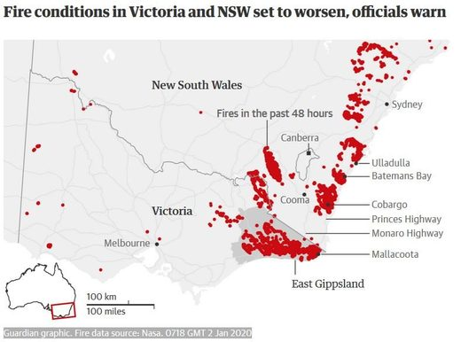 australia wild fires map January 2020