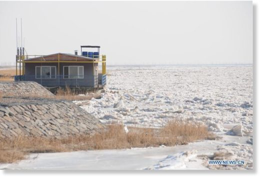 the frozen Linhe section of the Yellow River in Bayan Nur City