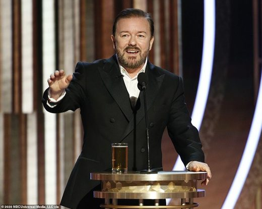 Ricky Gervais divides social media after he eviscerates 'woke' Hollywood hypocrites in scorching opening monologue at the Golden Globes
