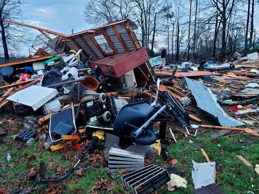 The trailer home of an elderly couple in Louisiana was demolished in high winds