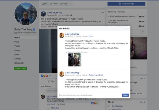 Svante Thunberg posting as Greta Thunberg