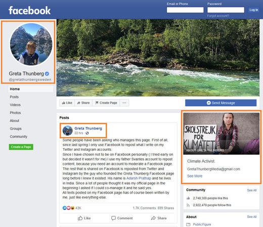 Greta Thunberg Facebook page