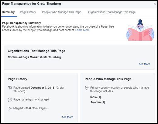 Greta Thunberg Facebook transparency page