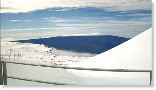 View looking south sky to Mauna Loa, also capped with snow. Camera is located in the Smithsonian Astrophysical Observatory's Submillimeter Array on Mauna Kea.