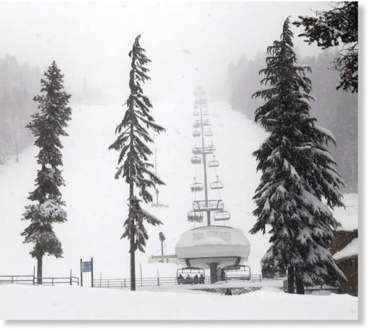 The chairlifts were mostly full at Willamette Pass Resort on Saturday, January 11