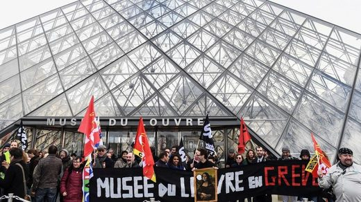 French trade unions pension reforms, Musee du Louvre on strike