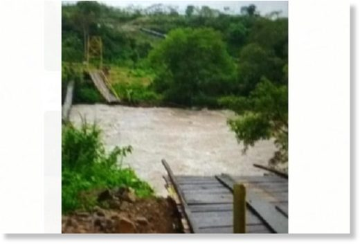 Flash floods caused a bridge to collapse in Kaur regency, Bengkulu Province, Indonesia, on 19 January 2020.