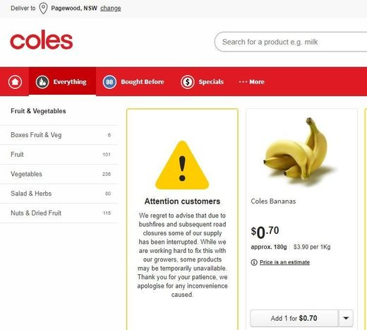 Coles online shopping website, 20 January 2020.