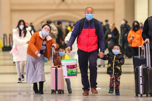 Commuters face masks China