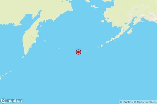 The location of a magnitude 6.2 earthquake Wednesday night in Alaska's Aleutian Islands