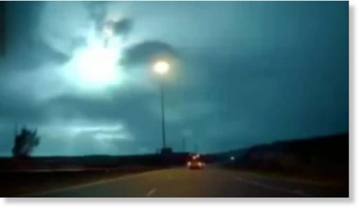 Meteor fireball over highway