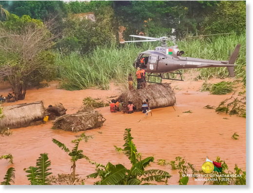 Flood rescues in Madagascar, January 2020.