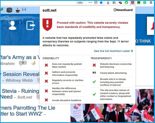 newsguard sott label screenshot